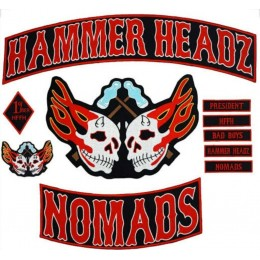 HAMMER HEADZ MOTORBIKE JACKET 35CM IRON ON EMBROIDERED 11 PCS SET