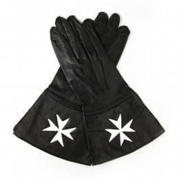 Knights Of Malta Black Leather Guantlets