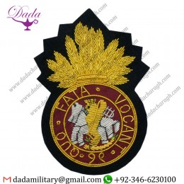 (RNF) Royal Northumberland Fusiliers Regimental Bullion Wire Emblems Blazer Badge