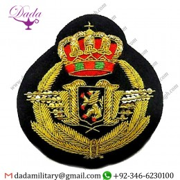Bullion Patches Belgium Air Force Pilot Hat Badge Wwi Wwii Era Hand Embroidered