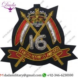 6TH Queens Lancers Blazer Badge Wire Bullion Badge Crown Style