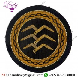 Hand Embroidery Badges Gliding Commission Gold Badge 3 Birds In Circle Bullion Wire-embroidered  Blazer Badge