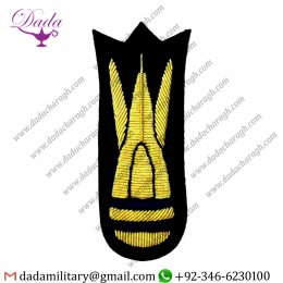 Applique Embroidery Badge Hand Embroidery Badges  Mess Kit On Navy Blue Long Thin Army Cloth Trade Badge