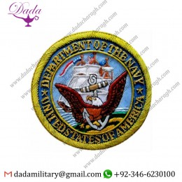 Blazer Patch United States Department Of Navy Bullion Badge Hand Embroidered