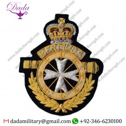 Bullion Patches Blazer Badge Hand Embroidered Gold-wire
