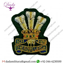 Custom Royal Welsh Officer Hat Cap Badge New Hand Embroidered