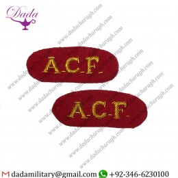 Goldwork Bullion Badge Acf Titles, Red & Gold Badges, Army Cadet Force, Mess Dress, Pair, Army Military