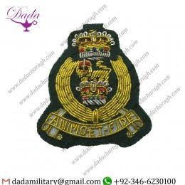 Goldwork Bullion Badge Agc Officers Beret Badge, Adjutant Generals Corps, Army, Military, Green Backed