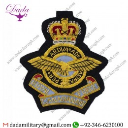 Hand Embroidered Badge Royal Canadian Air Force Bullion Wire Blazer Badge