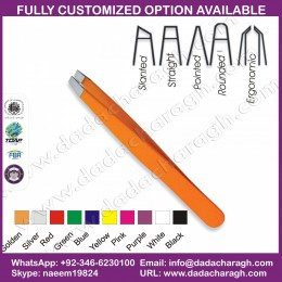 NICE QUALITY SLANTED TWEEZERS ORANGE COLOR