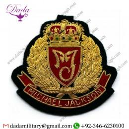 Military Badge Michael Jackson Gold Bullion Hand Embroidered Blazer Fashion Badge