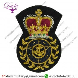 Military Motif Hand Embroidery Badges Royal Fleet Auxiliary Chief Petty Officers Full Size Queen's Crown. Bullion