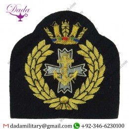 Military Motif Hand Embroidery Badges Sea Cadet Corps Chaplain Bullion Wire-embroidered Naval Cap Badge Or Cap Tally