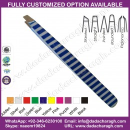 BLUE AND WHITE LINES TWEEZER,STAINLESS STEEL EYEBROW TWEEZERS