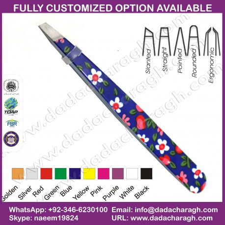 BLUE PATTERN,EXCELANT GRIP TWEEZER,COLORFUL TWEEZER,EYEBROW TWEEZERS, SLANTED TWEEZERS,