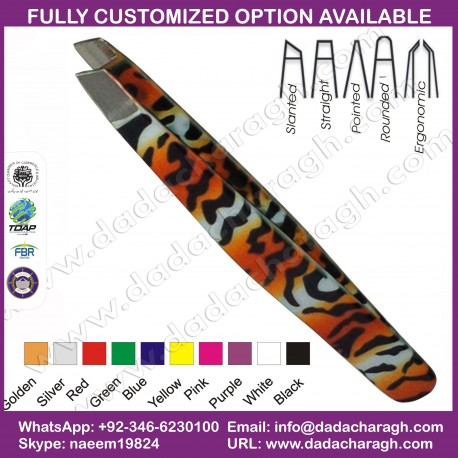 CHEETAH STYLE SLANT TIP TWEEZERS SLANTED TIP TWEEZERS STAINLESS STEEL TWEEZER ANIMAL PRINTED TWEEZER