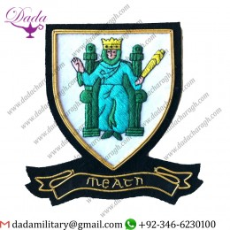 Military Uniform Emblem Hand Embroidered Irish County - Meath - Collectors Heritage Item