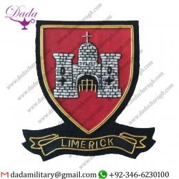 Military Uniform Emblem Hand Embroidered Irish County Limerick Collectors Heritage Item