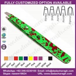 GREEN COLOR WITH HOLES TWEEZER,HIGH QUALITY NICE PRINTED EYEBROW TWEEZER GREEN DOT