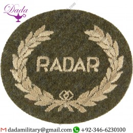 Wholesale Suppliers Radar In Wreath (Radar Operator Royal Artillery) Large On Khaki Embroidered Army Cloth Trade Badge