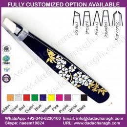 PAKISTAN MANUFACTURE TWEEZER,BLACK FLOWER MANICURE FACTORY EYEBROW TWEEZER