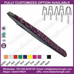 PINK CHETAH PATTERN TWEEZER,BEAUTY INSTRUMENT TWEEZERS STAINLESS TWEEZERS