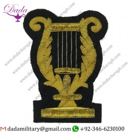 Sew On Badge Lyre (No Crown Or Wreath) Large On Navy Blue Bullion Wire-embroidered Musician, Piper, Drummer Or Bugler
