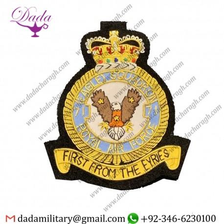 Squadron Emblem Royal Air Force Squadron Badge 71 Eagle Squadron Bullion And Wire Badge
