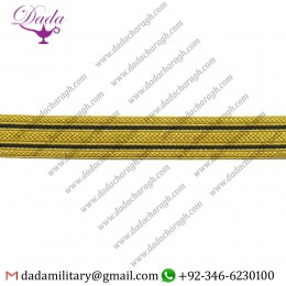 18mm Braid Gold 2 Black Stripe Masonic Lace