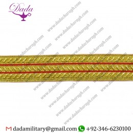20 Mm Braid Gold 2 Red Stripe Masonic Lace Trim