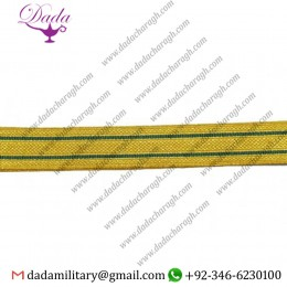 25 Mm Braid Lace Gold Metallic Mylar With 2 Green Strips Line Trim