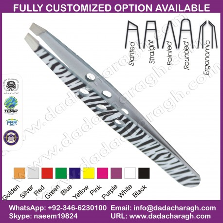 SLANTED ZEBRA PATTERN WITH HOLE 2018 STAINLESS STEEL SLANTED EYEBROW TWEEZER