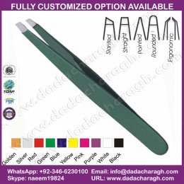 COLOR COATED EYEBROW TWEEZERS,GREEN TWEEZER,SURGICAL TWEEZER