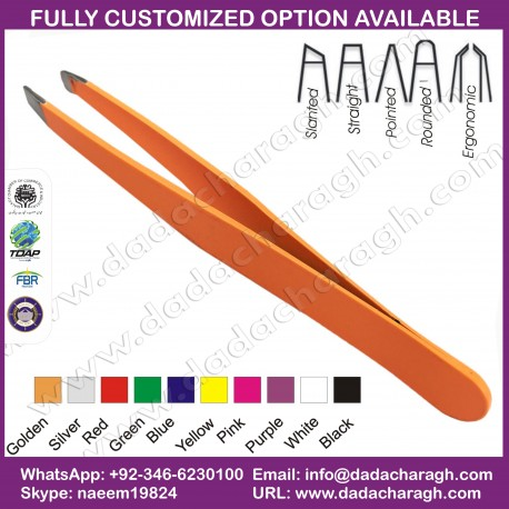 QUALIFIED ALL STAINLESS STEEL SERIES, ORANGE TWEEZER,SLANTED TWEEZER