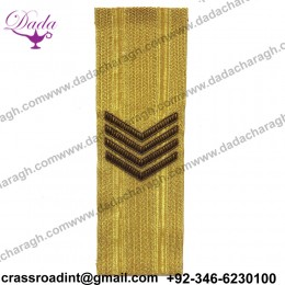 CHEVRON GOLD brooch Supplier Custom Hand Embroidery India Bullion Silk Patch Metallic Wire Clothing Horse Badge