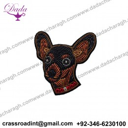CHIGUAGUA brooch Supplier Custom Hand Embroidery India Bullion Silk Patch Metallic Wire Clothing Horse Badge