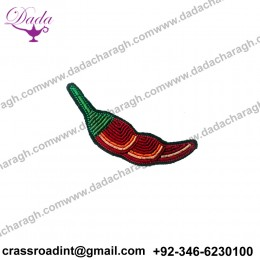 Chilli pepper brooch Supplier Custom Hand Embroidery India Bullion Silk Patch Metallic Wire Clothing Horse Badge