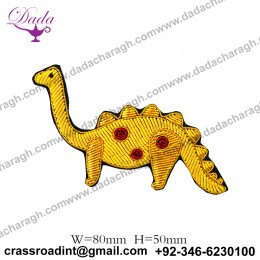 China Bullion Wire Hand Embroidery Animal brooch