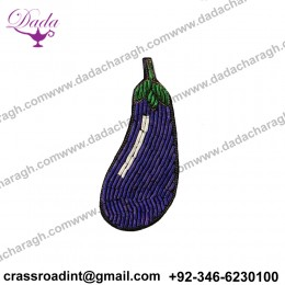 China Bullion Wire Hand Embroidery Brinjal brooch