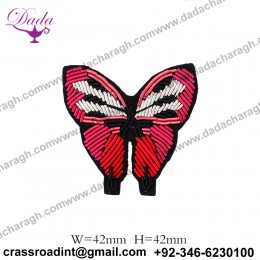 China Bullion Wire Hand Embroidery Butterfly brooch