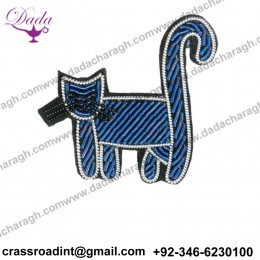 China Bullion Wire Hand Embroidery Cat brooch