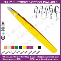 YELLOW COLOR TWEEZER PROFESSIONAL STAINLESS STEEL EYEBROW TWEEZERS YELLOW