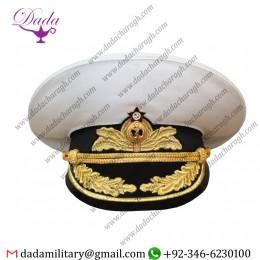 Russian Soviet Admiral Cream Parade Visor White Cap