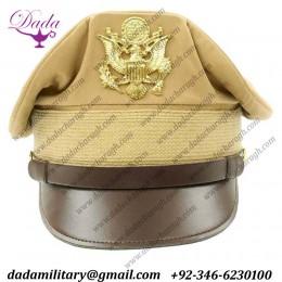 Cap Summer Khaki WW2 USAAF US Army Officers Uniform Visor Hat Crusher Style