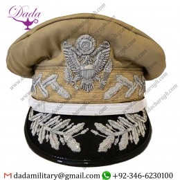 Hand Embroidery Reproduction WW2 Douglas Macarthur General Officers Visor Hat Cap