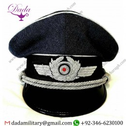 Hand Embroidered Badge WWII German Airforce Luftwaffe Officers Pilot Visor Hat Collectible Militaria