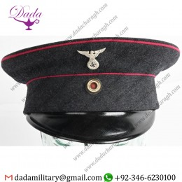 German Items, WWii Early Nazi German Fire Police Visor Hat WW2