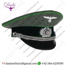 Visor Cap, German Army Officer Visor Cap - Jager Green Piping