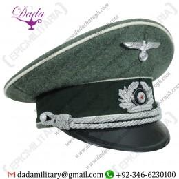 Visor Cap, German Army Officer Visor Cap - Field Grey
