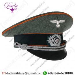 Visor Cap, German Army Officer Visor Cap - Orange Piping